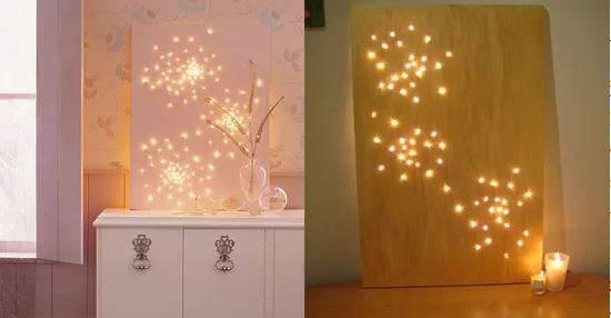 cheap-wall-art-ideas-christmas-lights-as-stars-behind-canvas