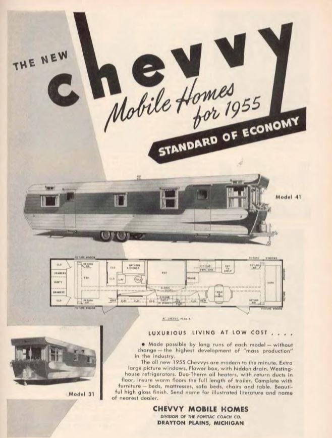 Vintage mobile homes-chevvy mobile home 1955