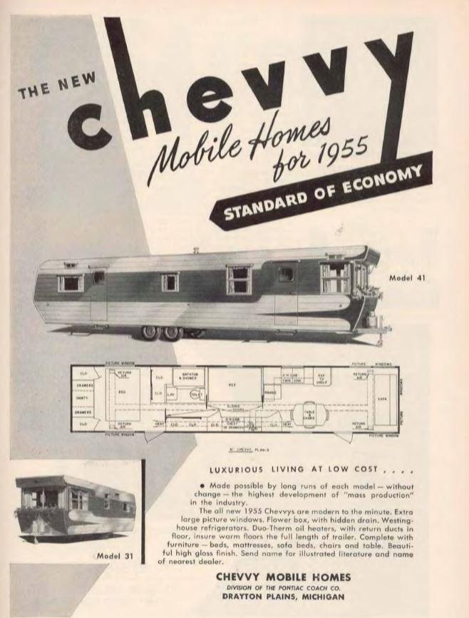 vintage mobile homes-chevvy mobile home 1955