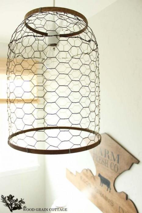 Chicken wire ceiling light