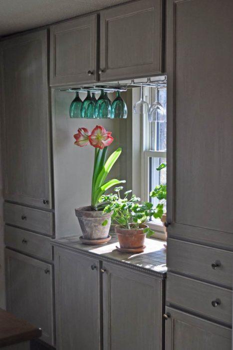 debt-free living - close up mobile home kitchen makeover cabinet refinish
