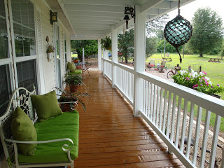 closeup of double wide manufactured home porch