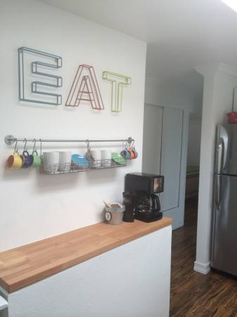 colorful kitchen decor in a mobile home