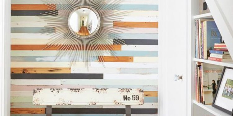 colorful wood as accent walls