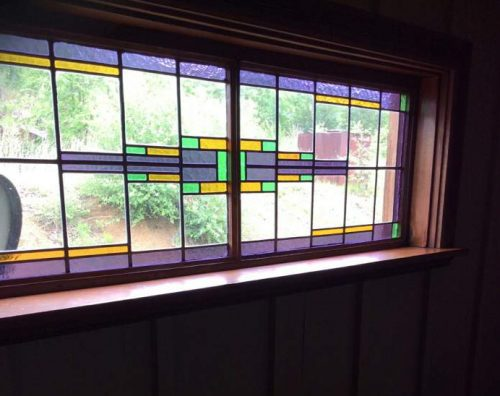 complete double wide remodel in Arkansas - dining room stained glass