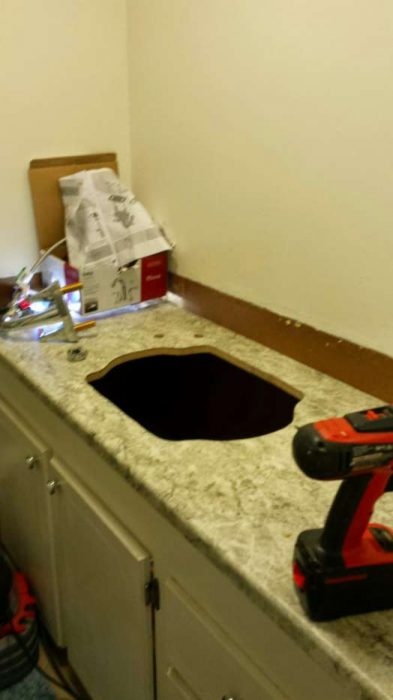 DIY mobile home transformation - adding new sink and counter in bathroom