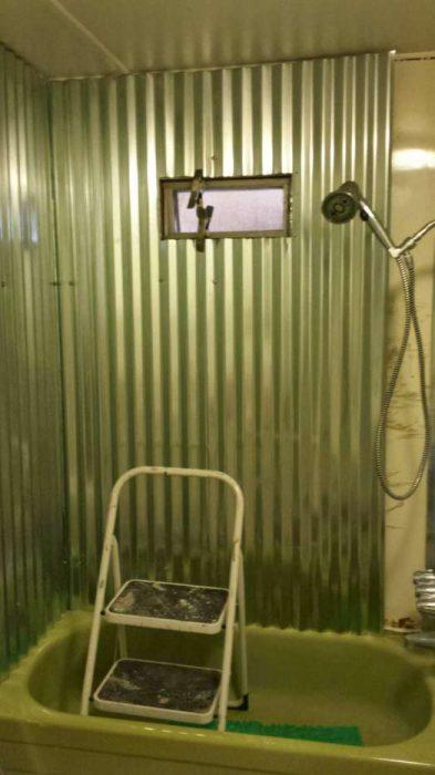 complete DIY mobile home transformation - sheet metal shower - after