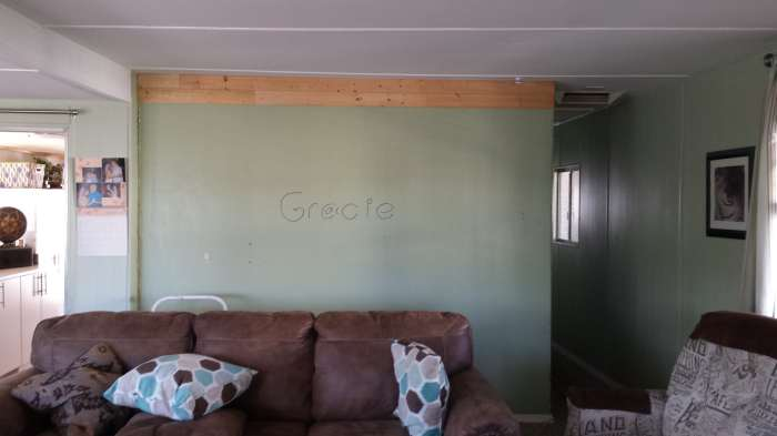 complete mobile home transformation - installing shiplap on mobile home walls