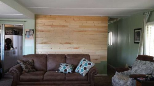 DIY mobile home transformation - installing shiplap on mobile home walls 3