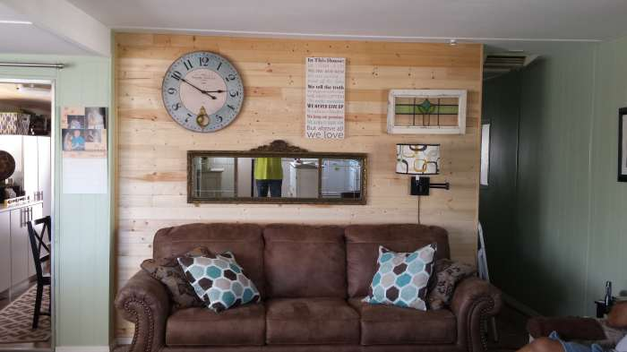 DIY mobile home transformation - installing shiplap on mobile home walls - final