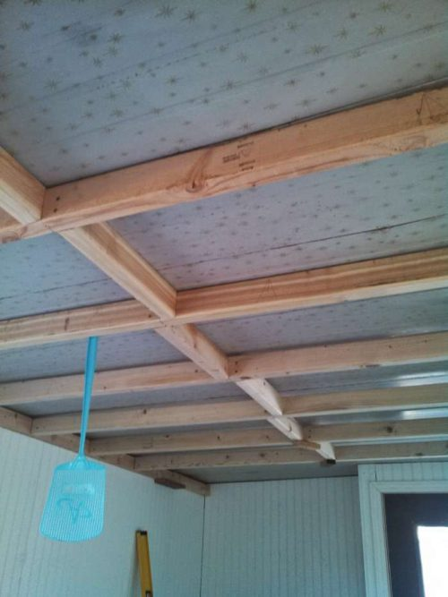 1968 DIY mobile home transformation - installing shiplap to the ceiling of a home - before
