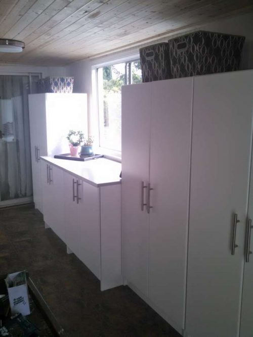 DIY mobile home transformation - storage /office room makeover - storage cabinets installed