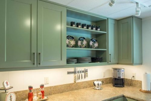 creative remodeling ideas for your mobile home -open cabinets