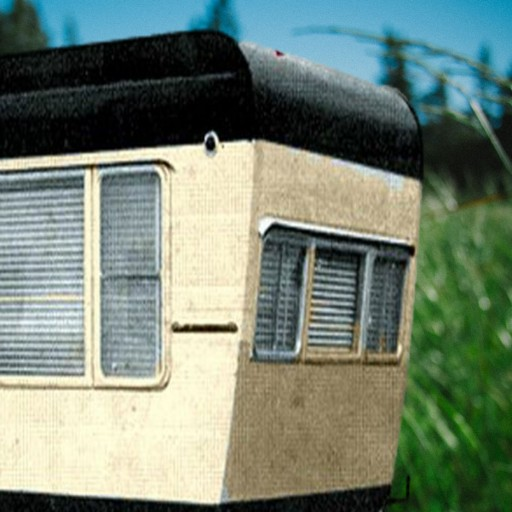 Cropped meadow w mobile mobile home living - The mobile home in the meadow ...
