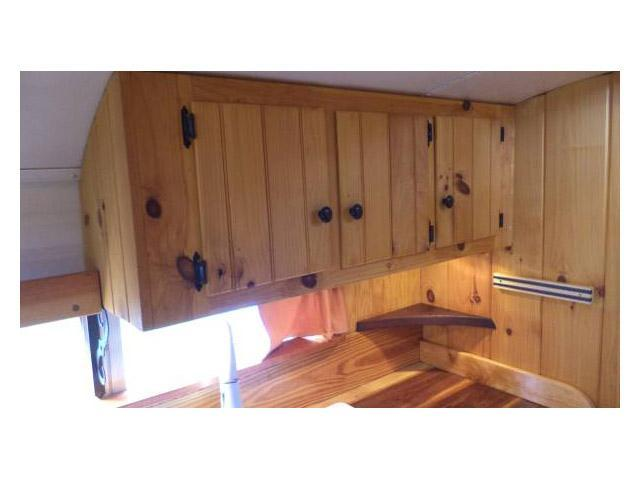 vintage buses-custom cabinetry in 1997 Blue Bird Bus conversion to mobile home