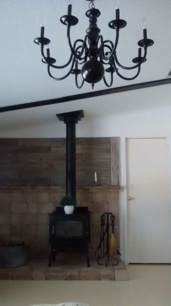 double wide decor makeover (wood stove - living room - after)