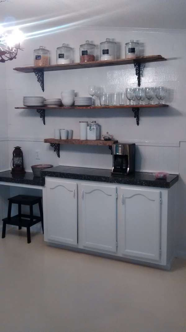 double wide decor makeover (kitchen open shelving)