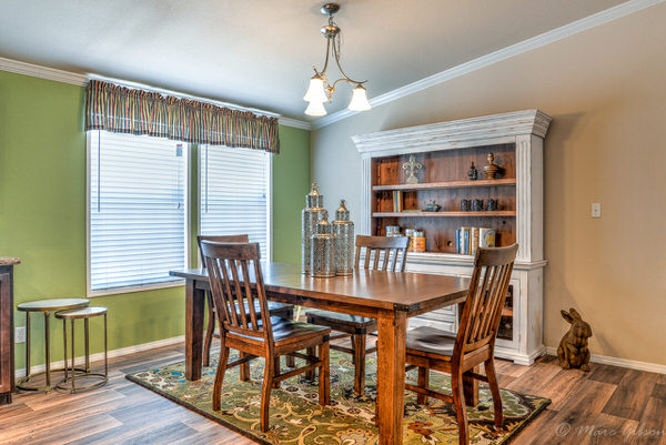 Double wide manufactured home design-dining room