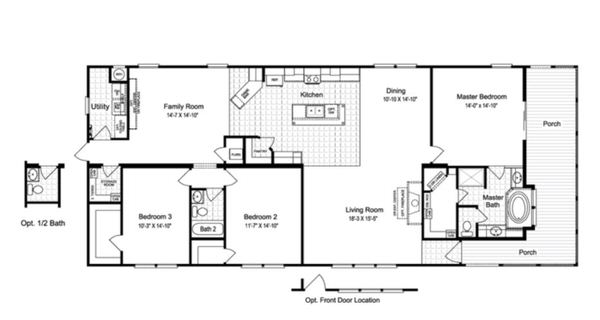 Double wide manufactured home design floor plan