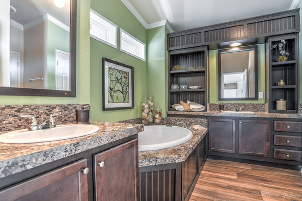 Double wide manufactured home design-master bath 2