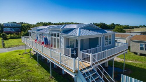 double wide mobile home design-exterior with wrap around porch