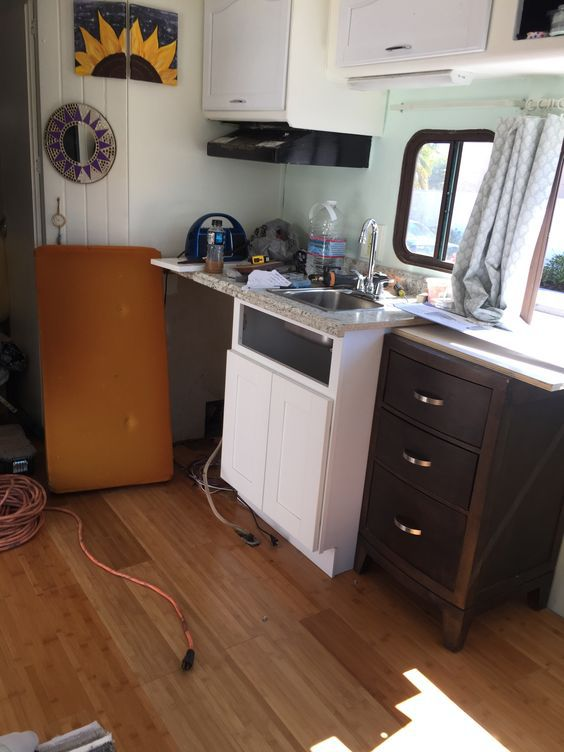 motorhome RV makeover - kitchen during
