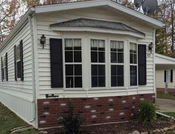 faux brick skirting update on manufactured home - good roi