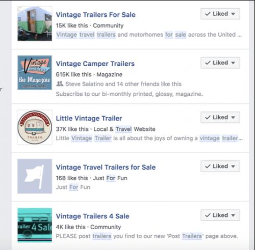 Find vintage travel trailers for sale on facebook groups