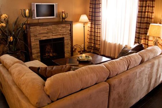 fireplace as center of room - living room mobile home makeover ideas