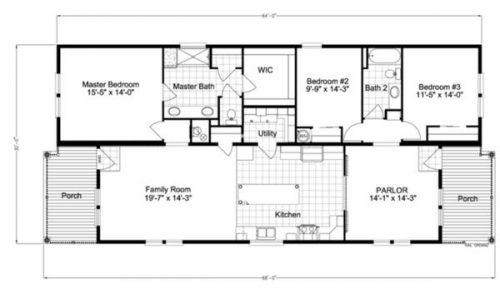 double wide mobile home design-floor plan
