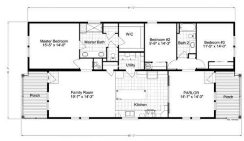 double wide mobile home design-floor plan