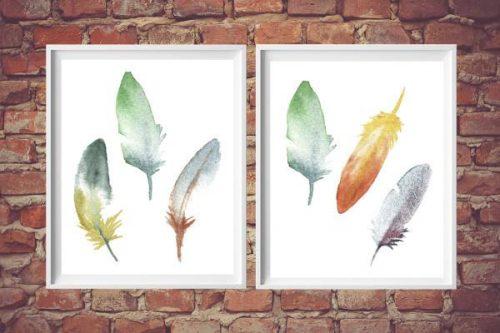 DIY Wall Art - free feather art printable