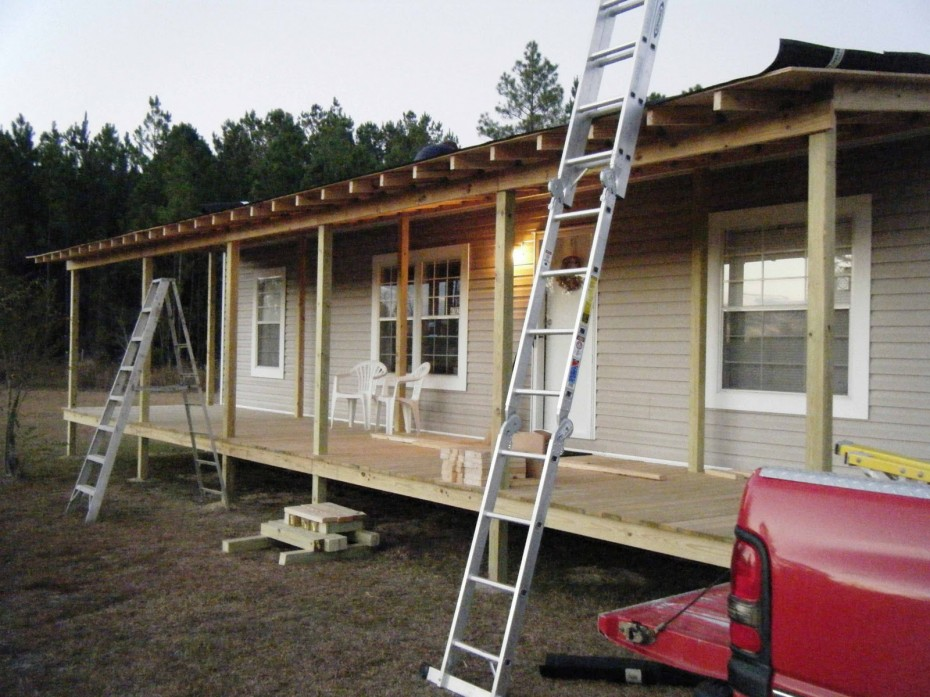 front porch being built onto double wide  - belindajowrites com