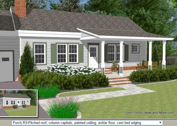 Amazing Front Porch Building Plans Free #2: Front Porch Illustrator With Pitched Roof