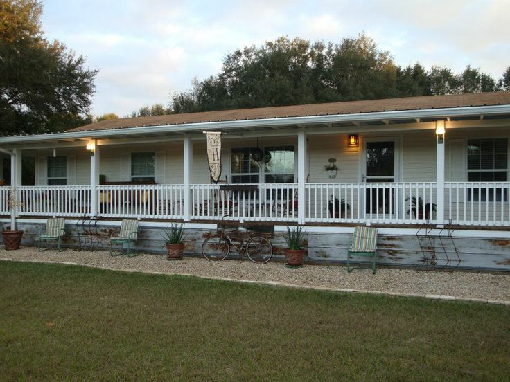 beautiful wrap around porch modular homes #4: fully covered front porch on double wide · double wide manufactured home  with wrap around porch