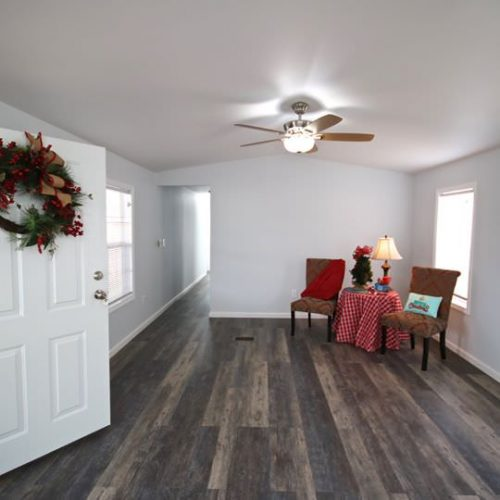 fully renovated single wide-living room