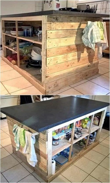 Great furnish your mobile home with pallets kitchen island