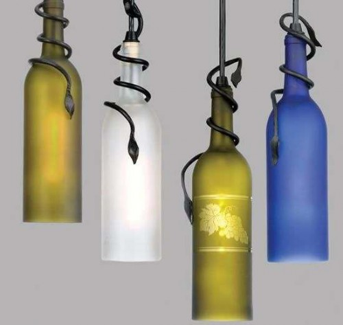 wine bottle DIY pendant project