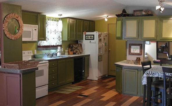 green kitchen in mobile home - decorating your manufactured home