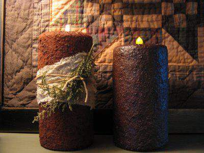 grungy candel DIY tutorial - primitive country decor