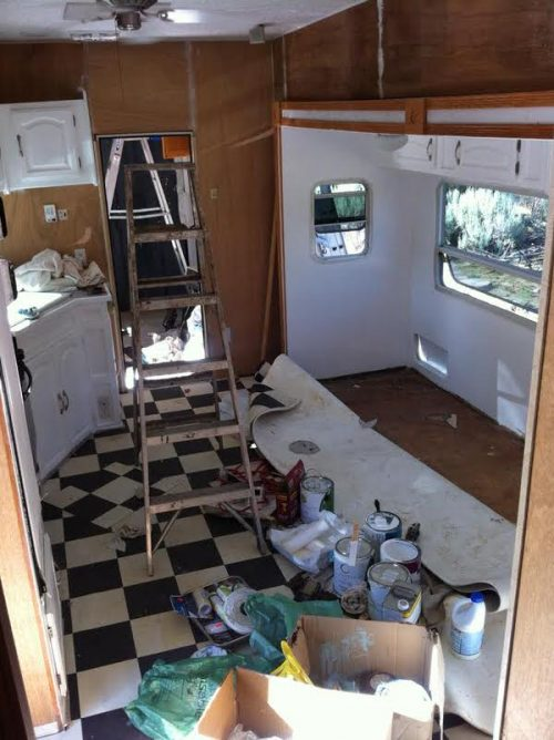 gypsy caravan-interior during remodel