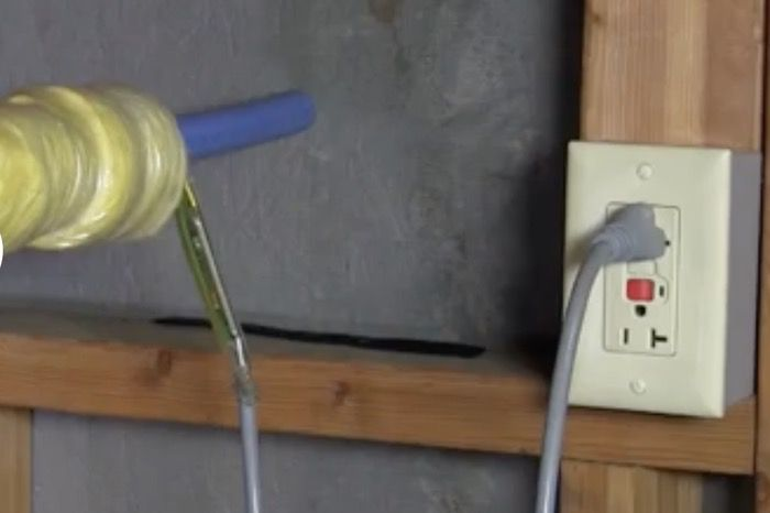 heat tape plugged into a GFCI outlet