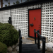iconic vintage mobile home - red front door