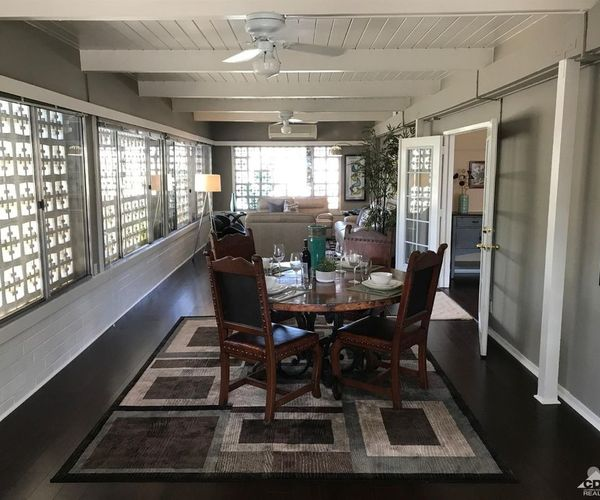 iconic vintage mobile home-sunroom and dining room
