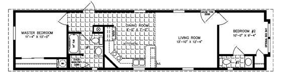 manufactured home floor plans-single wide floor plan - bedroom on end
