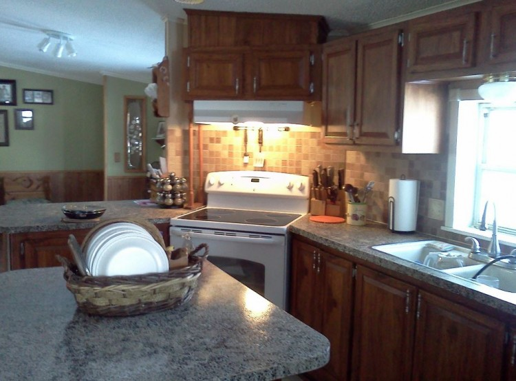 Total double wide manufactured home remodel for Mobile home kitchens pictures