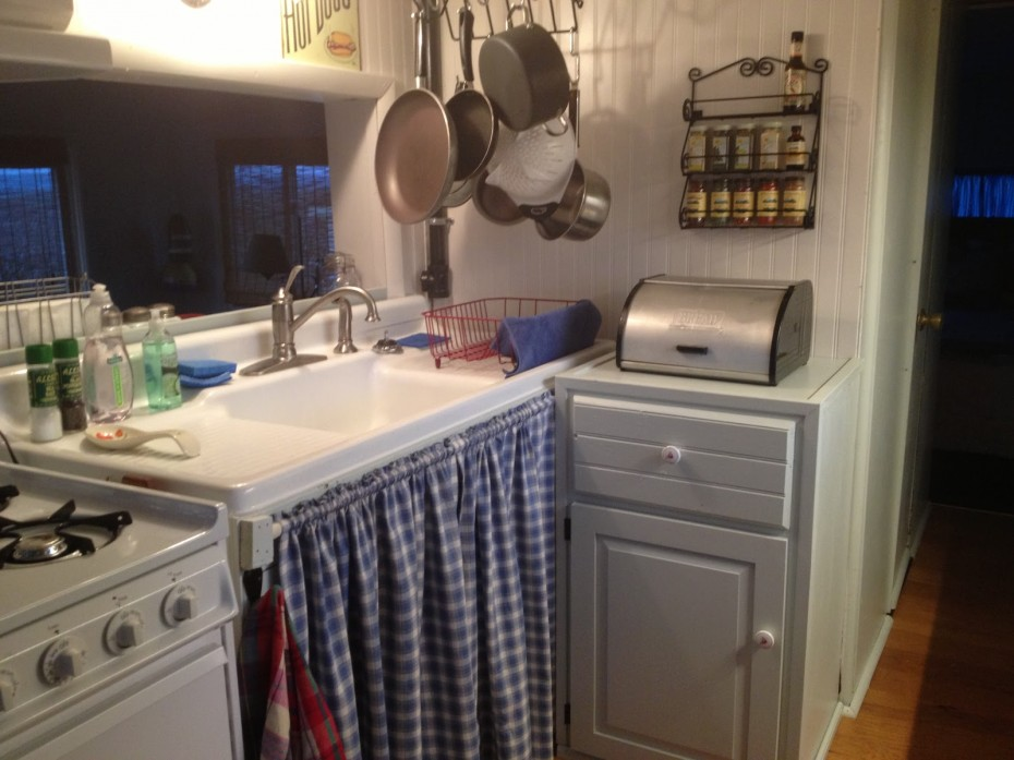 kitchen in vintage mobile home remodel
