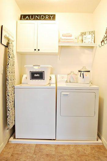 laundry room makeover ideas - bright white