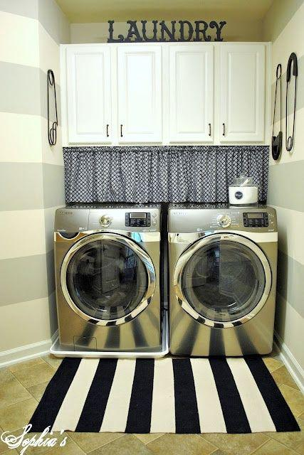 laundry room makeover ideas - striped