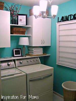 laundry room makeover ideas - teal